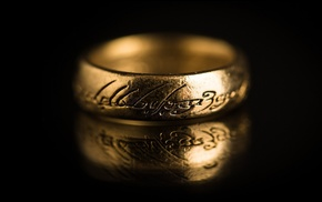 reflection, The Lord of the Rings, rings, The One Ring, depth of field, black background