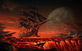 clouds, hill, planet, fantasy art, sea, lava