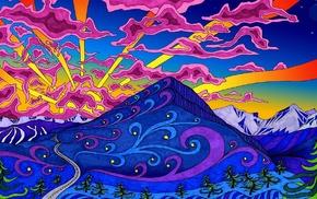 trees, snowy peak, sky, sun rays, psychedelic, moon