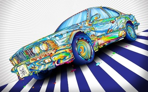 artwork, lines, colorful, digital art, paint splatter, car