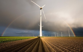 field, fisheye lens, nature, storm, landscape, wind turbine
