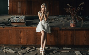 girl, model, white dress, ruin, interiors