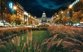 clouds, night, town square, statue, lights, Czech Republic