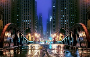 bridge, window, metal, night, wet, Chicago