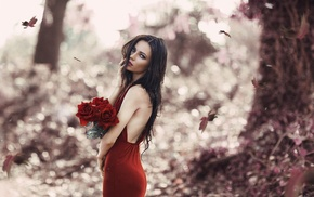 blue eyes, flowers, leaves, red lipstick, brunette, red dress
