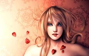 hearts, girl, artwork