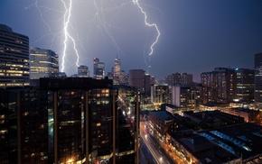 lightning, skyline, urban, city
