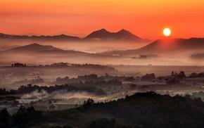 mist, mountain, sunrise, landscape, nature, morning