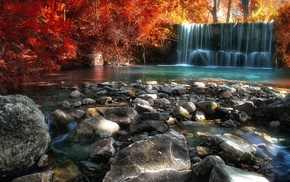 sunlight, Italy, stones, colorful, river, red