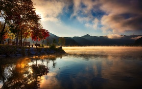 fall, sunrise, water, lake, trees, clouds