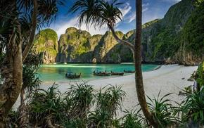white, sea, tropical, trees, limestone, morning