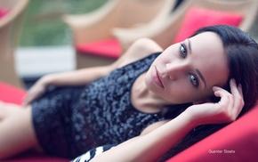 Guenter Stoehr, depth of field, dress, model, brunette, Angelina Petrova
