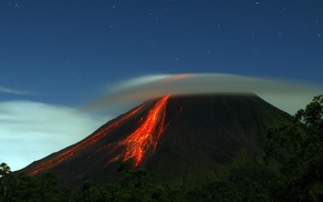 stars, eruption, landscape, sky, lava, volcano