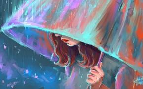 colorful, digital art, face, girl, painting, rain