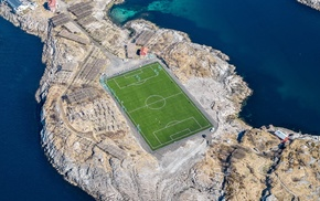 Norway, Lofoten Islands, soccer pitches, field, aerial view, landscape
