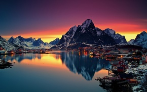 sunset, nature, Reine, Lofoten Islands, snow, Norway