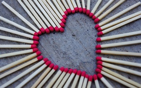 love, hearts, matches