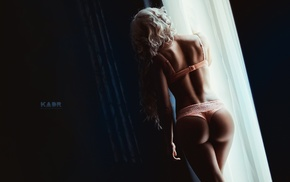 long hair, window, rear view, strings, ass, girl