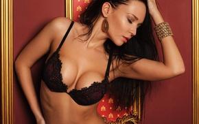 bra, girl, lingerie, closed eyes, Angelina Petrova