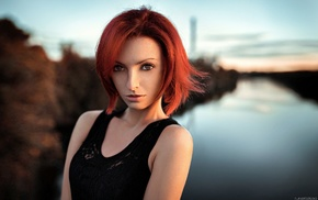 girl, black clothing, portrait, depth of field, brown eyes, redhead