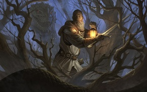 knights, basilisc, fantasy art, sword, forest, knight