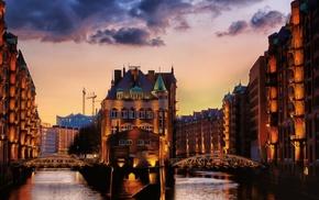 lights, sunset, architecture, cityscape, bridge, city