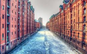 winter, sky, dock, old building, bridge, frozen river