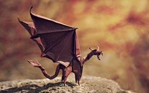 origami, miniatures, dragon, paper, tail, stone