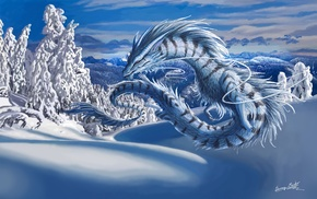 mountain, forest, dragon, snow, winter, clouds