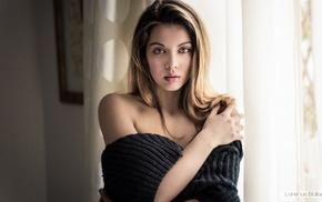 model, hazel eyes, girl, sweater, no bra, portrait