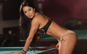 sporty, model, Michelle Sarmiento, girl, billiards, pool table