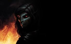 dark elf, elves, fire, dark, The Elder Scrolls V Skyrim, fantasy art