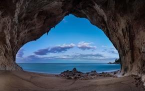 landscape, sea, sand, sunrise, clouds, moon
