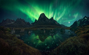 shrubs, landscape, mountain, aurorae, nature, lake