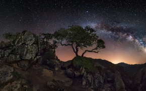 nature, galaxy, trees, mountain, starry night, long exposure