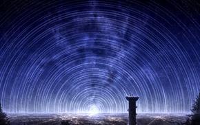 city lights, star trails, night, fantasy art, digital art, night sky