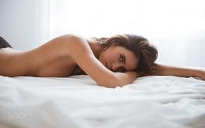 topless, brunette, black panties, sideboob, model, brown eyes