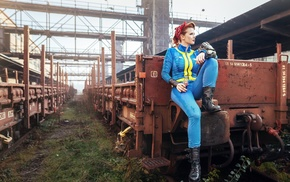 girl, red lipstick, train, Fallout 4, video games, railway