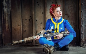 red lipstick, rifles, redhead, cosplay, video games, sniper rifle
