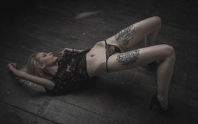 lace, girl, closed eyes, black panties, model, black tops
