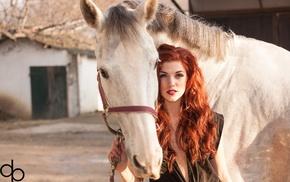 no bra, wavy hair, hazel eyes, girl, black clothing, horse