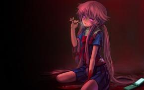 blood, anime girls, Gasai Yuno, yandere, Mirai Nikki, anime