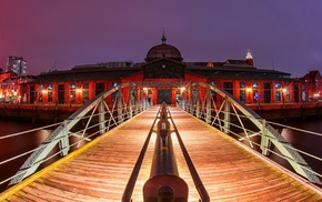 landscape, wooden surface, Germany, Hamburg, lights, city