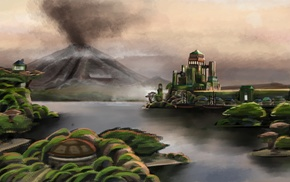 island, water, fantasy art, volcano, smoke, building