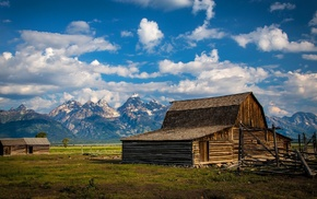 house, fence, snowy peak, USA, Grand Teton National Park, grass