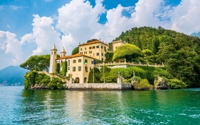 sculpture, hill, Lake Como, landscape, forest, rock