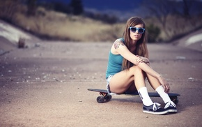 nature, tank top, tattoo, legs, depth of field, road