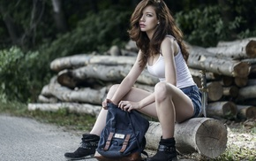 hair in face, black boots, sitting, road, bare shoulders, girl