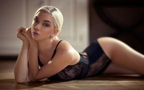 black lingerie, blonde, girl, Lynn Quanjel