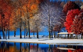 nature, water, snow, trees, bench, colorful